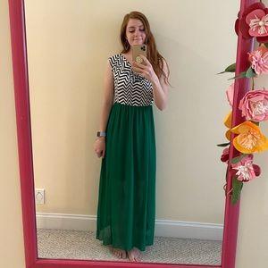 Green & black maxi dress